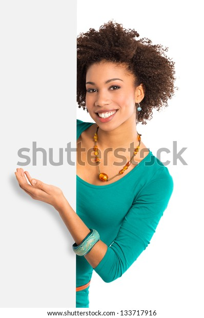 Woman Isolated Presenting Placard Over White Background