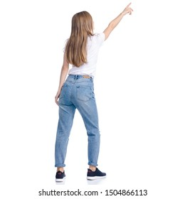 Woman in jeans casual clothing standing smiling showing pointing on white background isolation, back view