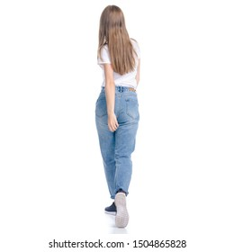 Woman in jeans casual clothing walking goes looking on white background isolation, back view