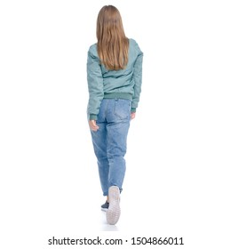 Woman in jeans coat jacket casual clothing walking goes smiling on white background isolation, rear view