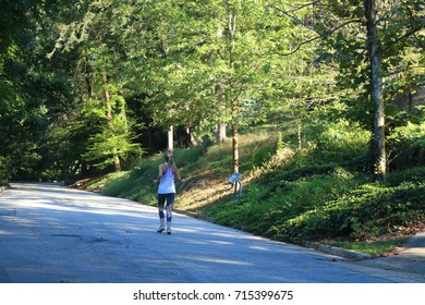 woman jogger in park