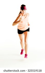 Woman jogging isolated on white