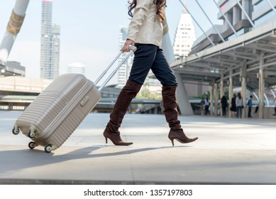 Woman journey with luxury luggage in the airport. Travel Concept.