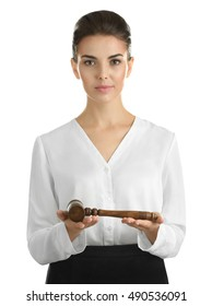 Woman with judge gavel on white background