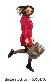 Woman jumping with bag on white studio background