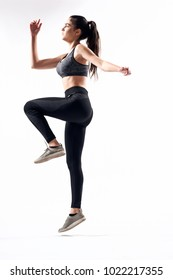 woman jumping, gym, fitness, athlete