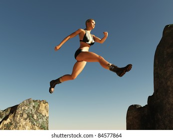 woman jumping over the pass