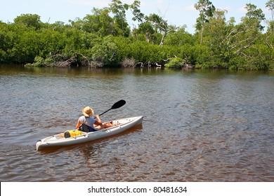 Woman In Kayak Darling Wildlife Refuge Sanibel Florida