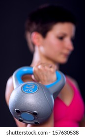 Woman kettlebell closeup