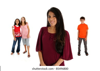 woman and kids set on a white background