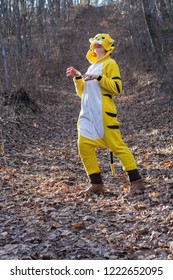 Woman in kigurumi tiger suit on forest country road stays in animal pose showing claws. Maybe kids party entertainer