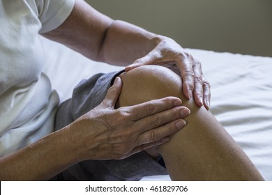 Woman with knee pain, close up