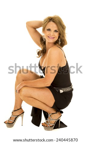 woman kneeling down her formal dress stock photo edit now