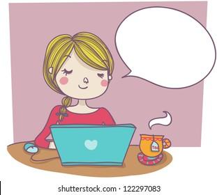 woman at laptop with empty balloon. Cartoon style illustration