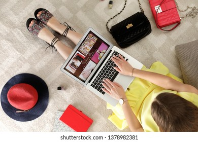 Woman and laptop with fashion blogger site on floor, top view