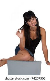 Woman with laptop and headset