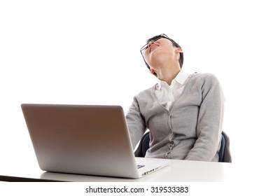 Woman, laptop. worry