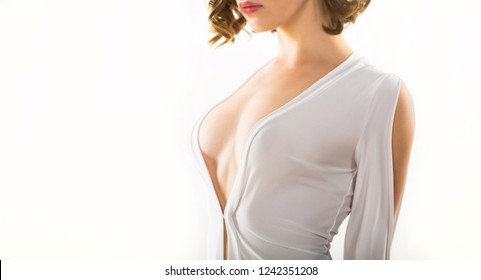 Woman with large boob. Sensual female breast.