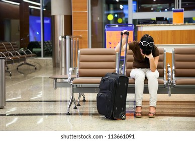 woman was late for a plane at the airport