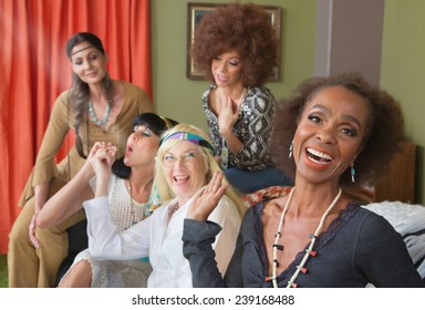 Woman laughing a middle aged group smoking pot