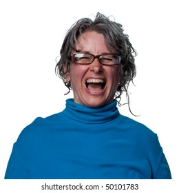 Woman laughing out loud in reaction to a funny joke