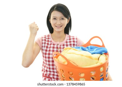Woman with a laundry basket.