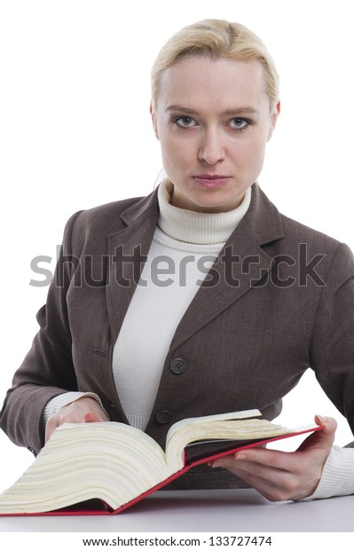Woman with a law book in hand