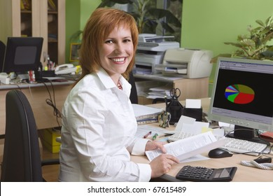 Woman leading specialist at her work place