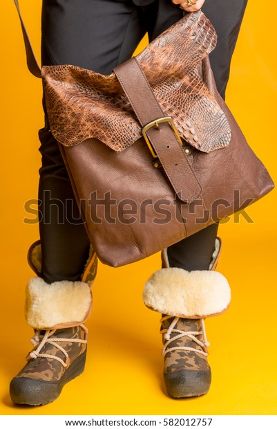 woman leather bag and shoes