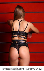 Woman in leather belts and black lingerie. On red background. Fetish concept.