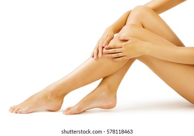 Woman Leg Skin, Body Massage and Legs Skin Care, isolated over white