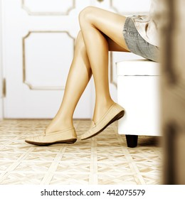woman legs and brown small shoes