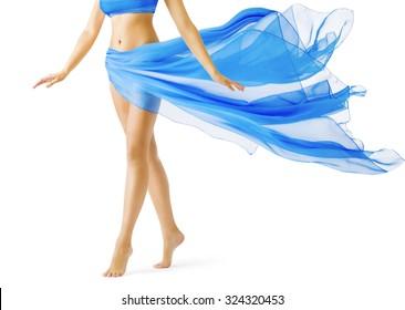 Woman Legs, Girl in Blue Waving Dress, Smooth Skin Leg Tiptoe on White