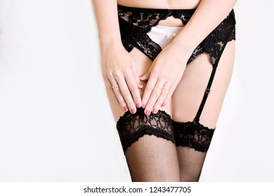 f1ae84fa3a Woman Black Lace Underwear Belt Knee Stock Photo (Edit Now ...