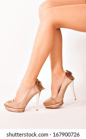 woman legs in high heels side shot