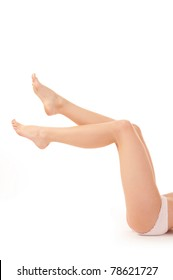 woman legs over white background