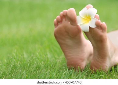 Woman legs with plumeria on green grass