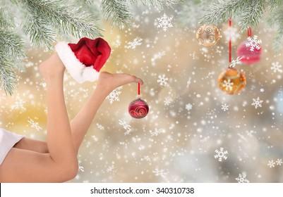 woman legs with santa cap