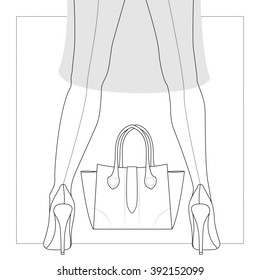 Woman legs in shoes, bag