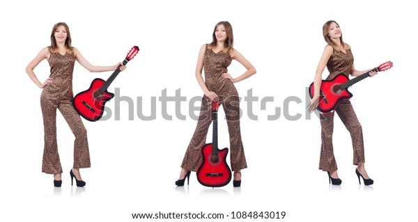 Woman in leopard clothing on white with guitar