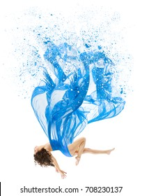 Woman Levitate In Art Dress, Fashion Model Levitation, Blue Artistic Fabric Flying As Melted Water