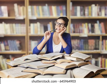 Woman in Library, Student Study Opened Books, Girl Studying and Thinking, School Education