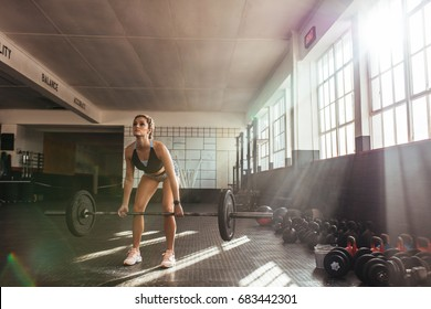 Woman lifting heavy weights at the gym for muscle training. Athlete exercising using a weight bar.