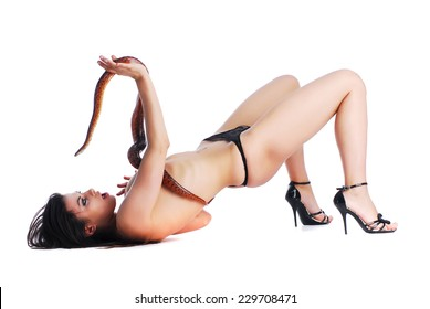 Woman in lingerie with snake