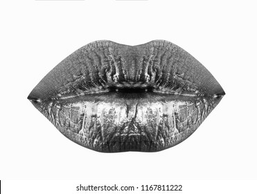 Woman lips. Lips augmentation. Beauty treatment. Filler injection. Lips isolated on white background. Sexy girl mouth. Perfect natural gold makeup. Part of face, young woman close up. Sexy plump