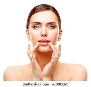 Woman Lips Beauty, Face Care Natural Makeup, Girl touching Mouth Lip Skin, Beautiful Model Make Up