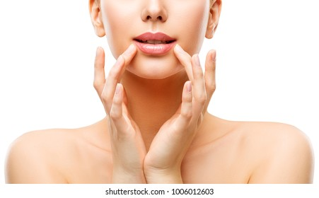 Woman Lips Care and Face Beauty Make Up, Model Touching Lip by Hands, Natural Skin Makeup, White Isolated