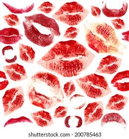 Woman lips pattern on white  background. Lipstick kiss.