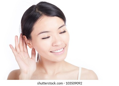 woman listen by ear isolated on white background, model is a asian girl