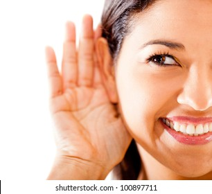 Woman listening - isolated over a white background